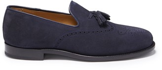 Hugs & Co Navy Blue Suede Tasselled Brogues Welted Leather Sole
