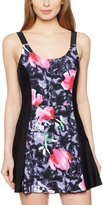 Delimira Women's Plus Size One Piece Swimdress Skirted Swimsuit Bathing Suits