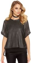 Quiz Silver And Black Textured Chiffon Top