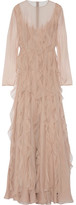 Valentino Ruffled Silk-chiffon Gown - Blush