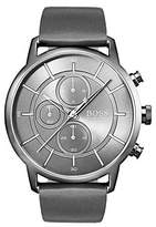 Hugo Boss Bauhaus-inspired watch with grey leather strap
