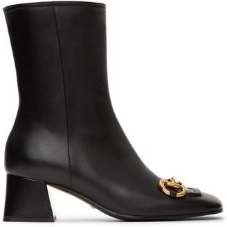 Gucci Black Horsebit Baby 55 Ankle Boots