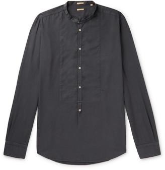 Massimo Alba Grandad-Collar Bib-Front Brushed-Twill Half-Placket Shirt