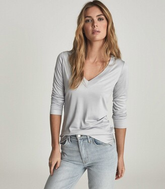 Reiss SELENA JERSEY V-NECK TOP Light Blue