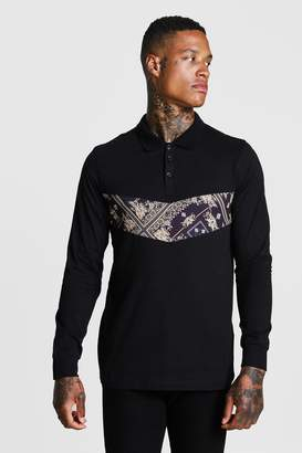 BoohoomanBoohooMAN Mens Black Muscle Fit Baroque Panel Long Sleeve Polo, Black