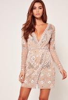Missguided Nude Premium Wrap Embellished Mini Dress