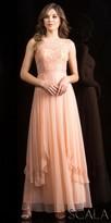 Scala Bateau A-line Beaded Chiffon Evening Dress