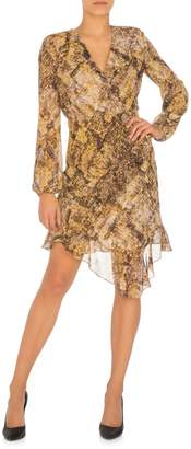 GUESS Dominica Snakeskin-Print Faux Wrap Dress