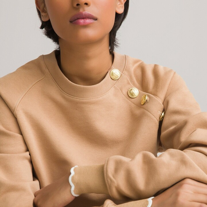 La Redoute Collections Cotton Sweatshirt with Buttoned Crew Neck and Scalloped Cuffs