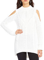 Jessica Simpson Riva Cold Shoulder Cable Knit Sweater