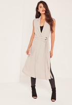 Missguided Grey Double Belt Sleeveless Duster Coat