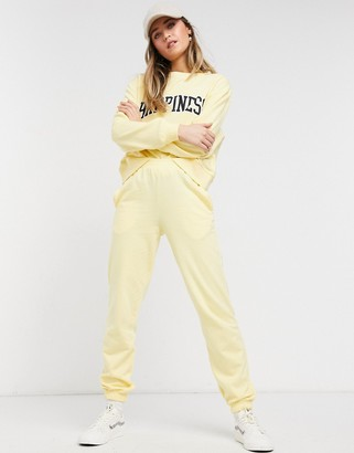 New Look cuffed sweatpants set in light yellow