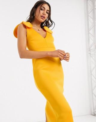 ASOS DESIGN deep plunge midi dress with bows on shoulder in orange