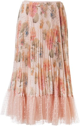 RED Valentino Pleated Floral Print Skirt