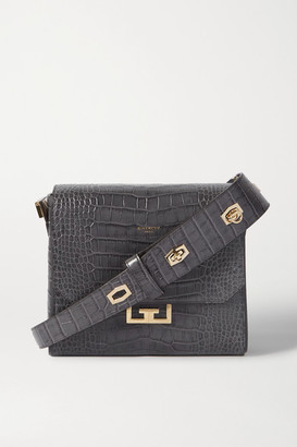 Givenchy Eden Medium Croc-effect Leather Shoulder Bag - Dark gray