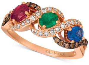 LeVian Le Vian Multi-Gemstone (1-3/4 ct. t.w.) & Diamond (3/8 ct. t.w.) Ring in 14k Rose Gold