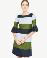 Ann Taylor Fluted Sleeve Striped Shift Dress