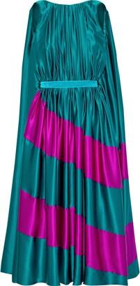 Roksanda Pleated Two-tone Silk-satin Midi Dress