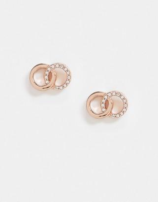 Olivia Burton bejewelled interlink earrings in rose gold plate