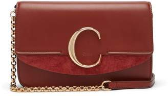 Chloé The C Leather And Suede Cross-body Bag - Womens - Tan