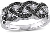 Julie Leah 1/6 CT TW Black and White Diamond Silver Infinity Anniversary Band