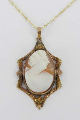 """Margolin & Co Antique Edwardian 14K Yellow Gold Cameo Victorian Pendant Necklace 18"""" Chain"""