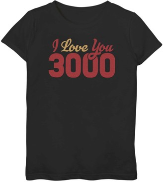 Iron Man Licensed Character Girls 7-16 Marvel I Love You 3000 Bold Simple Logo Tee
