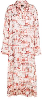 Joseph Printed Satin-twill Midi Dress