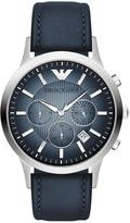 EMPORIO ARMANI Emporio Armani Stainless Steel Blue Leather Strap Gents Watch