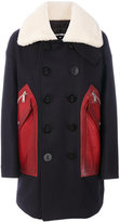 DSQUARED2 leather-panelled coat