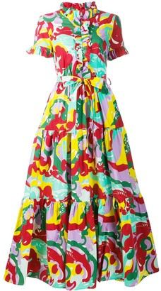 La DoubleJ Abstract Print Ruffle Dress