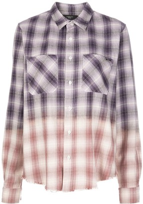 Amiri Long Sleeve Raw Edge Checked Shirt