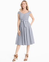 White House Black Market Cold-Shoulder Striped Sundress
