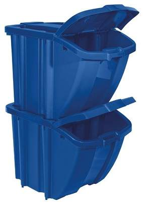 Suncast BH18BLUE2 Stackable Recycling Bin Containers with Lids, Blue (2 Pack)