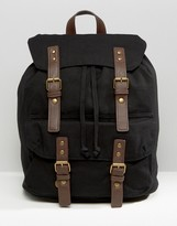 Asos Smart Canvas Backpack In Black With Contrast Straps