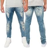 Loyalty And Faith Mens Slim Stretch Fit Marbled Distressed Ripped Jeans Trousers