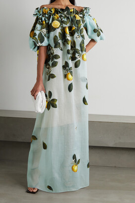 OSCAR DE LA RENTA - Off-the-shoulder Embroidered Silk-blend Crepon Gown - Blue