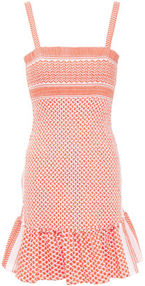 Cecilie Copenhagen Judith Ruffle-trimmed Shirred Cotton-jacquard Mini Dress