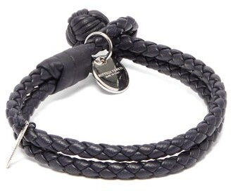 Bottega Veneta Double-wrap Leather Bracelet - Mens - Navy