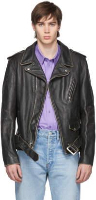 Schott Black Vintaged Fitted Motorcycle Jacket
