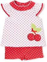 Baby Essentials Red & White Polka Dot Cherry Top & Ruffle-Back Shorts