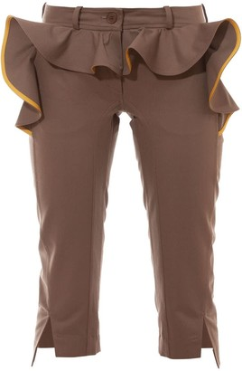 Talented Slim Fit Breeches With Ruffle Khaki