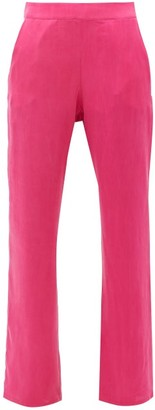 Worme - The Slim Flare Silk Trousers - Womens - Pink