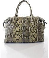 Tod's AUTH TODS Beige Taupe Python Snakeskin Medium Duffel Satchel Handbag