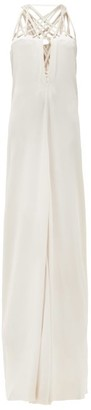Rick Owens Lace-up Crepe Maxi Dress - Womens - Pearl