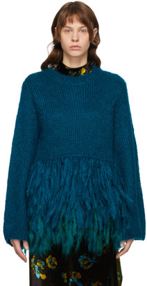 Dries Van Noten Blue Mohair Tassel Hem Sweater