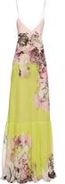 Roberto Cavalli Kimono Floral-print V-neck silk-georgette gown
