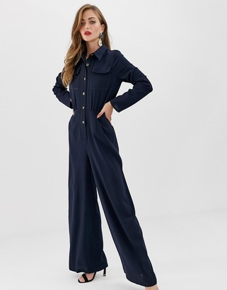Asos Design DESIGN shirt jumpsuit with pocket front and stitching detail-Navy