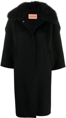 Yves Salomon Contrast Collar Single Breasted Coat