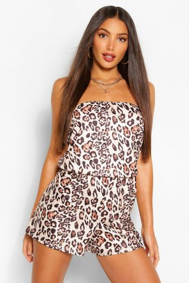 boohoo Tall Bandeau Leopard Print Playsuit
